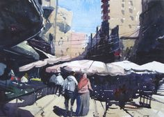 "#Watercolor of #Alexandria #Egypt.  Market Scene, 15"" x 11"" on Saunders Waterford Rough."