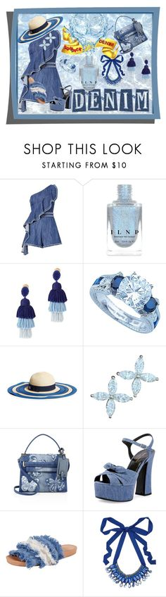 """""""Summer Denim"""" by qmaxine ❤ liked on Polyvore featuring Alexis, Oscar de la Renta, Plutus, Draper James, Tiffany & Co., Valentino, Yves Saint Laurent, Bill Blass and Nocturne"""