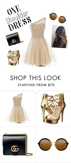 """One Shoulder Dress"" by carrie-loves-fashion ❤ liked on Polyvore featuring GUESS, Gucci and party"