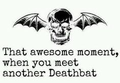 That awesome moment, when you meet another Deathbat avenged sevenfold A7X