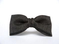 Men's Bow Tie by BartekDesign: pre tied black gray herringbone wool lead grey wedding proms grooms autumn