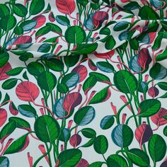 Hand printed Calathea fabric in neon. Upholstery linen.