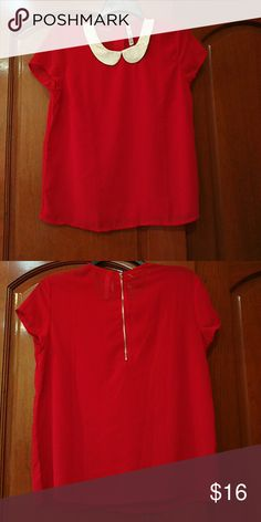 Collared Short Sleeve Shirt Cute red shirt with white collar. Fits like an XS womens' size. Great for the office or a night out with friends. Junee Tops Tees - Short Sleeve