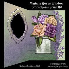 Vintage Roses Window Pop-up Surprise Card Kit