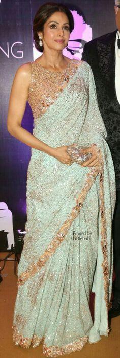Pinterest @Littlehub    Six yard- The Saree ❤•。*゚   Sri Devi in a elegant saree                                                                                                                                                                                 More