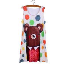 Womens Cute Dalmatians Print Women Mini Dress / Long Tank Top