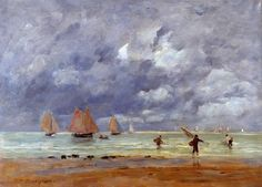 Fishermen and Sailboats near Trouville 1892 | Eugene Louis Boudin | Oil Painting