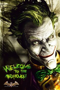 Batman Arkham Asylum Joker - Official Poster. Official Merchandise. Size: 61cm x 91.5cm. FREE SHIPPING