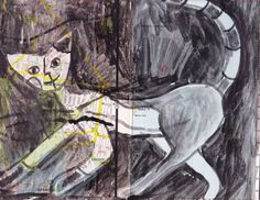 moving cat, ink on map by Nancy MacAlpine  http://www.wearesoarty.blogspot.com.au