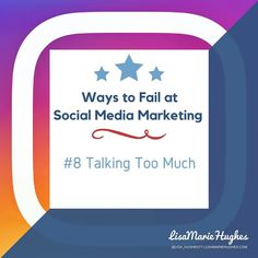Ways To Fail At Social Media Marketing: #8 Talking Too Much  Written posts are great but visual content is better. Don't change all your blog posts to videos photos and infographics but make sure you integrate some visual content into your social media posts. If written material is all you have to offer your followers are going to get bored.  So do you want to learn how to Crush it on Instagram?  Imagine adding an easy 5-10 leads per day to your business with Instagram... for FREE! GO HERE…