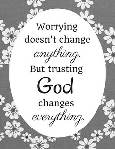 Get the free printable coloring page plus a black and white printable. Print it out, take a coloring break. Color the words, absorb the message. Worrying doesn't change anything, but trusting God changes everything.