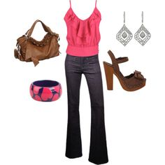 """""""Ruffle top and cute jeans!"""" by paulette-lanni on Polyvore"""