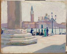 Venice - Santeri Salokivi 1911 Finnish, oil on canvas, glued on cardboard, 41 x 51 cm. Chur, Artwork Display, House Painting, Venice, Oil On Canvas, Italy, World, Gallery, Illustration
