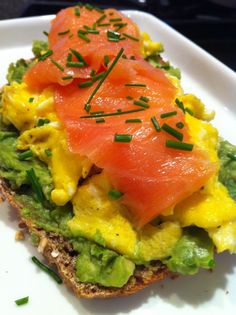 Eggs, Lox and Avocado Toast - Holy smokes...I want this right now, with some red onion slices.