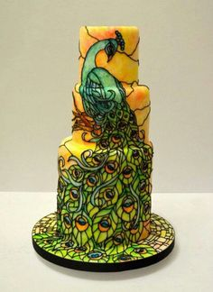 Stained glass peacock cake