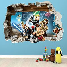 LEGO STAR WARS SMASHED WALL STICKER 2 - 3D BEDROOM BOYS GIRLS WALL ART DECAL[Medium]