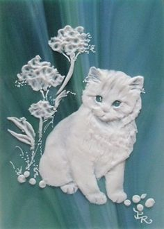 Kitten Sculpted Cameo on Stained Glass ACEO