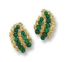 Gold and Emerald Earrings weighing carats (Cartier)_ Jewels of the Duchess of Windsor Royal Jewelry, Pearl Jewelry, Antique Jewelry, Vintage Jewelry, Fine Jewelry, Wallis Simpson, Windsor, Emerald Earrings, Tiaras And Crowns