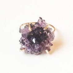 Amethyst Crystal Gold Ring OOAK by friedasophie on Etsy