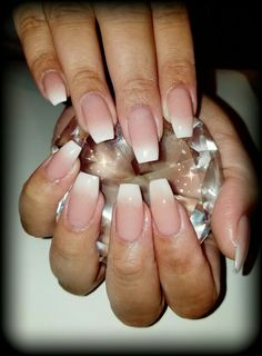 Short coffin french ombre nails