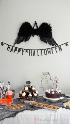 Halloween table decorations and treats