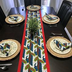 This beautifully vibrant table runners will make any space feel alive! All the colors and designs are sure to bring a little bit of Africa to any space. Excellent choice for table decor for an African theme party.Description:Print part made w. African Theme, African Home Decor, Red Fabric, African Fabric, Event Decor, All The Colors, Table Runners, African Fashion, Red Green