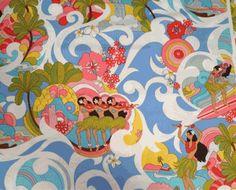 Retro Hula Girls, Vintage Surfer Girls, Hawaii Aloha Dance, Swirl Pattern Fabric