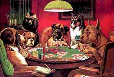 The ridiculous dogs playing poker painting in the basement of the bar near Great Lakes Naval Base Dogs Playing Poker, Cat Treats, Cartoon Dog, Living At Home, Animal Paintings, Dog Art, Dog Pictures, Collie, Palette