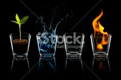 Classical element - Earth Water Air Fire Glass Four Royalty Free Stock Photo
