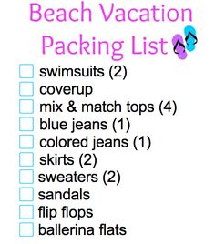 Beach Vacation Packing List