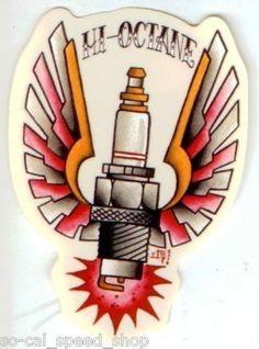 Rat Hot Rod Custom Decal Winged Spark Plug Kustom Kulture Art Chopper Vtg Style   eBay