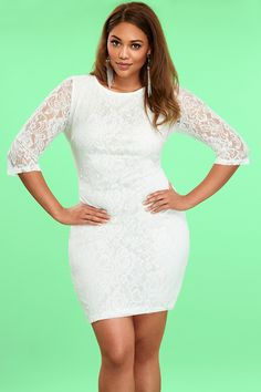 Plus Size White Willow Lace Dress