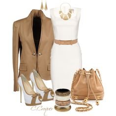 """""""Chic in White & Nude"""" by ccroquer on Polyvore"""