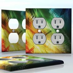 DIY Do It Yourself Home Decor - Easy to apply wall plate wraps | Prism Explosion  Green and yellow abstract image  wallplate skin sticker for 2 Gang Wall Socket Duplex Receptacle | On SALE now only $4.95