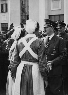 Opening Of The Red Cross Campaign By The Fuhrer In Germany On May 1943 (Photo by Keystone-France/Gamma-Keystone via Getty Images) Nursing Pictures, Corrie Ten Boom, German People, German Girls, Vintage Nurse, The Third Reich, Red Cross, Back To Black, World War Two