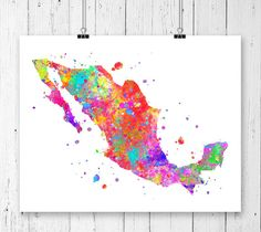 Mexico Watercolor Map 2 Art Print Poster Wall Art by ZuzisStudio