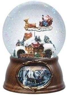 6.5″ Musical Rotating Santa Claus with Train Christmas Snow Globe Glitterdome