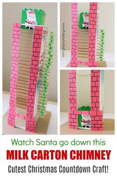 Milk carton chimney Christmas countdown This would be pretty neat to make out of wood Christmas Countdown Crafts, Countdown For Kids, Santa Countdown, Advent For Kids, Advent Calendars For Kids, Diy Advent Calendar, Christmas Activities For Kids, Holiday Crafts For Kids, Preschool Christmas