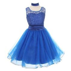 Cinderella Couture Girls Royal Blue Lace Satin Shawl Flower Girl Dress 8 - Walmart.com
