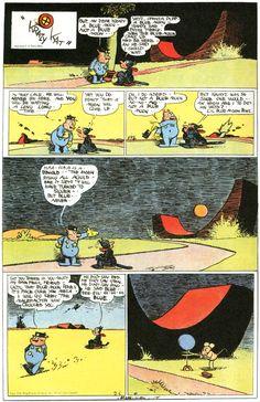 A Blue Moon – potza tibbly. Krazy Kat by George Herriman. Comics Und Cartoons, Funny Cartoons, Comic Pictures, Comic Panels, Classic Comics, Comic Styles, American Comics, Vintage Comics, Comic Artist