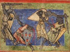 """Victory of Humility over Pride"", from the German medieval illuminated manuscript, 'Jungfrauenspiegel', or 'Speculum Virginum', circa 1200 Medieval Knight, Medieval Armor, Medieval Manuscript, Illuminated Manuscript, Maleficarum, Medieval Helmets, High Middle Ages, Medieval Paintings, Historical Art"