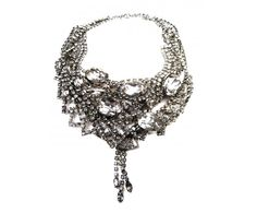 large white crystal tangled necklace.