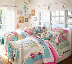 Find shared bedroom ideas and inspiration at Pottery Barn Kids. Discover room ideas that will be able to handle multiple kids and styles. Summer Bedroom, Girls Bedroom, Bedroom Decor, Bedroom Ideas, Bedroom Designs, Bedroom Themes, Bedroom Pictures, Bedroom Bed, Bed Ideas