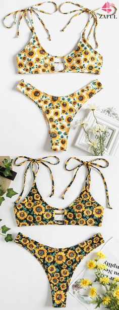 Tie Shoulder Sunflower Keyhole Bikini. Floral print throughout, this sexy two piece bikini swimwear features a bandeau collar top with padded cups lining, and coordinating thong briefs with high cut leg on the thighs for a little coverage. Both flattering and cute. #zaful #bikinis #swimwear