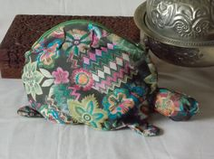 Turtle/tortoise cosmetic or tool bag with by EcoTurtleUpcycling