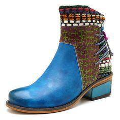 2018 SOCOFY Femme Chaussure Handmade Ankle Cuir Bottes Souple Fleur Zip Shoes