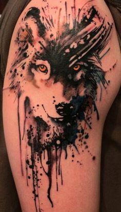 drip work tattoos, leg tattoos, cute, beautiful, colourful, watercolour tattoos…