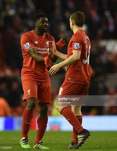 Kolo Toure and Jon Flanagan of Liverpool during the Barclays Premier League match between Liverpool and Manchester City at Anfield on March 2, 2016 in Liverpool, England.