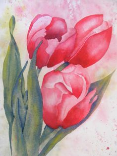 Red Tulips-Spring Again-Original Watercolor Painting of Flowers