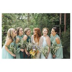 How amazing do all of these bridesmaids look! #bridesmaids #makeup and #hairstyling by @veilofgrace #florals by @whitefigdesigns #weddingphotography by @photolmarie #boho